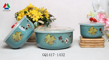 Reactive glazed ceramic bowl fresh bowl with plastic lid for cheap sale