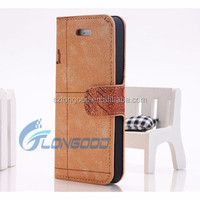 Cell phone case world map wallet leather case for iphone5, Card slots case