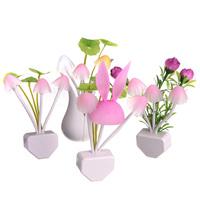 Best Price Lovely Mushroom LED Auto Light Sensor Night Light Color Changing Kid Bedroom Lamp Home Decor Gift