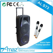 double 10 inch plastic cabinet trolly speaker active speaker with microphone, rechargeable trolley speaker boxes