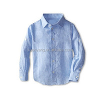 Blue Baby Boy solid pure linen shirt