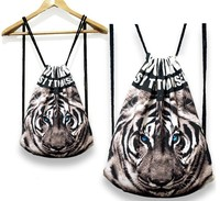 Printed Art! Wild animal pattern drawstring backpack, canvas bag