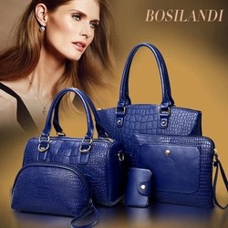 5pcs in 1 set cheap price tote lady handbag, woman'bag leather material