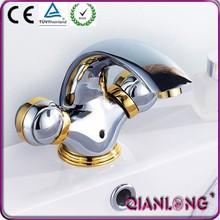 QL-0752G ornate deck mounted gold swan basin faucet