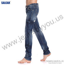 guangzhou clothing Men Blue with Grinding White Jeans