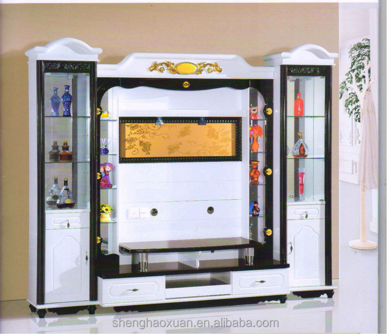 Hot selling home furniture tv hall cabinet living room for Living room wall cupboard designs