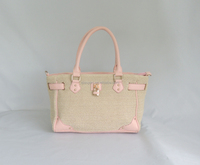 Lovely girl straw tote bag