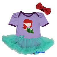 Baby Ariel Princess Bodysuit Lavender Aqua Pettiskirt Party Dress 0-18M