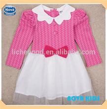 ( h4856) 2-6y fucsia manga larga niña niños vestidos de fiesta de algodón de moda vestido de princesa para las niñas