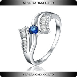 2015 Top sale 925 Sterling Silver colorful CZ Wedding Engagement Ring for women