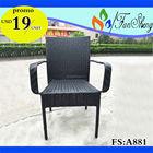 Fansheng OUTDOOR mobiliário preto PE / vime RATTAN uso específico jardim cadeira com apoio de braço