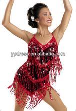 El salón de baile sensacional de la franja de los cequis Rumba el vestido latino de la danza de la salsa