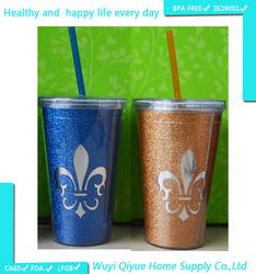 promotional novelty summer drinking water bottle Different Capacity Plastic Promotional Mug Glitter Paper Insert Tumbler