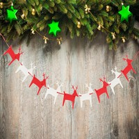 Jumping Felt Deer Elk Christmas Buntings Banners With Ribbon Xmas Hanging Garland Party Home Indoor Outdoor Decoration