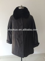 2014 mens sheep leather fur colla long leather wind-proof coat