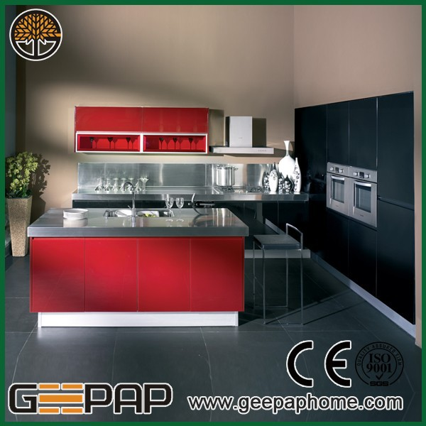 2015 cheap modern design lacquer red and black kitchen for Cheap black kitchen cabinets