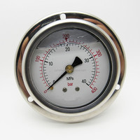High quality oil filled back connection ss pressure gauge with flange