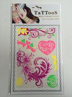 Sexy fluorescent flower tattoo sticker glow in the dark, UV tattoos wenzhou manufacturer