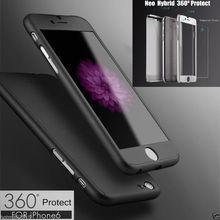 Hybride de luxe en verre trempé + acrylique couvercle en plastique Hard Case pour iPhone 6