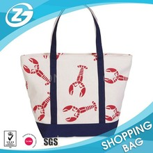 Large Cotton Canvas Tote Bag With Outer Pocket