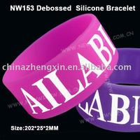 Personalized 1 inch wide debossed silicone bracelet with ink-filled