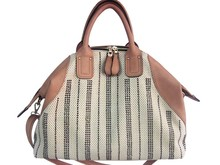 Everyday Chic Thick n Thin Business Women Felt Tote Bag with Shoulder Strap, Beige