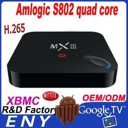 Factory Hot MXIII Amlogic S802 Quad Core Mini Wireless Keyboard For Smart TV BOX