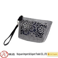 Customized Elegant felt lady hand bag with hollow out flower pattern