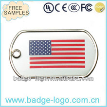 custom stainless steel flag pet tags