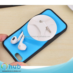 TPU and PC hard case plastic back cover earphone winder apparatus phone case for iphone 5 and 6 4.7 inch