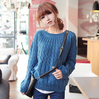 13592 Hot Sale 2014 Women Autumn Winter Long Sleeve Pure Color O-neck Pullover Cable-Knit Sweater