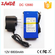 Portable DC 12V 6800mAh Rechargeable Li-ion Battery for CCTV Camera Baby Monitor