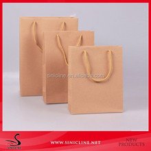 Sinicline custom cheap brown kraft paper bag with handle and logo printed