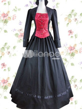 Black And Red Long Sleeves Bandage Lace Cotton Classic Lolita Dress