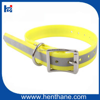Personalized Reflective tape Fluo Yellow TPU Pet Dog Collars