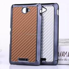 Carbon Fiber Grain Leather PC Hard Back Case Cover Shell For Sony Xperia Z4 M4 Aqua
