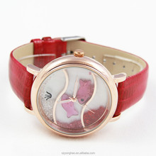 2015 fashion watch with genuine leather women hanging stone dial