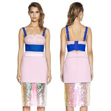 pink two pieces best price strap sexy evening dress with sequine