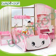 Cutstomized design Little Star Cartoon car shape wooden baby girl car bed