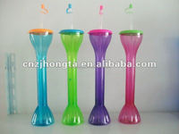 hot sale ice tall yard glass China plastic Yard Cup Flashing Yard Glass Slush cup