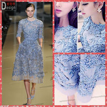 New Arrival O Neck 3/4 Sleeves Big Ass Latest Short Elie Saab Girls Party Dresses