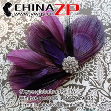 Popular among USA butterfly clips wholesale cheap Grape Purple Peacock Feather Hair Clip for girls