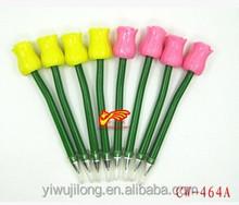 Hot sales green pen holder plastic ballpoint pen