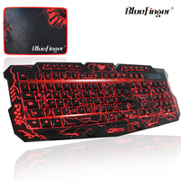 USB Wired Raised computer keyboard with cool crack backlit