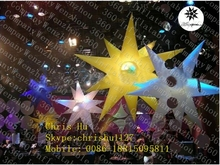 Nice quality cheap 12-poined inflatable hanging club decoration spikey stars