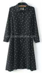 2015 New trendy lady Long Sleeve Chiffon Maxi Polka dot Long Dress