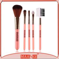 Easy to carry 5pcs beautiful makeup brushes trave makeup brush kit