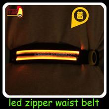 Glowing sport waist belt with battery led lighted waistband