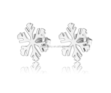 High Quality Women's Stainless Stud Snow Flower Titanium Steel Earrings Jewelry