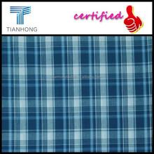 Nantong custom 100 cotton yarn dyed shirt fabric/blue color plaid check collection fabric